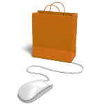 shopping bag attached to a computer mouse
