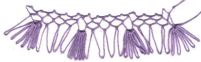 row 1 of Fan Increase netting stitch