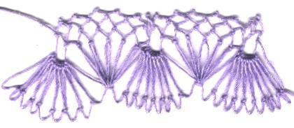 row 2 of Fan-bobble Increase netting stitch