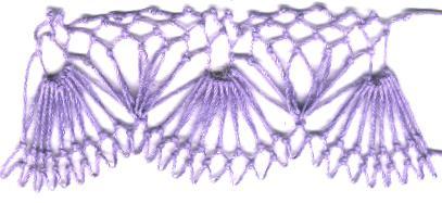 row 3 of Fan-bobble Increase netting stitch