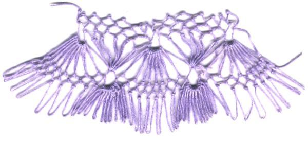 row 4 of Fan-bobble Increase netting stitch