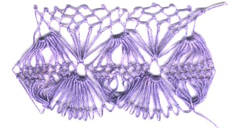 row 5 of Fan-bobble Increase netting stitch