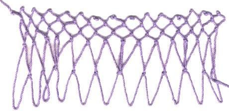 row 2 of Stilts Increase netting stitch
