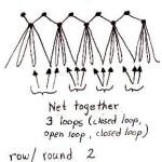 sketch of rickrack netting stitch
