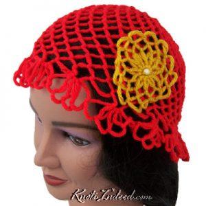 a net hat with a net flower