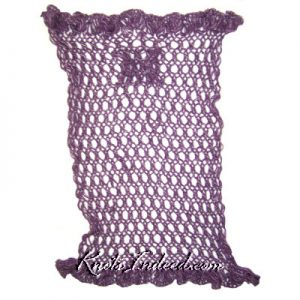 a net eyelet stitch scarf with a tube to hold the scarf closed