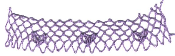 row 3 of Cupid Increase netting stitch