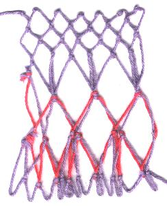 row 4 of Double Thread Increase netting stitch