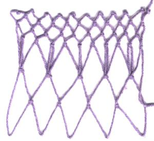 row 3 of Ladies Increase netting stitch