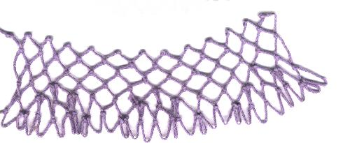 row 3 of Points Increase netting stitch