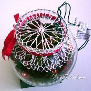 net bowl cover on a bowl with Christmas tree lights and potpourri inside the bowl