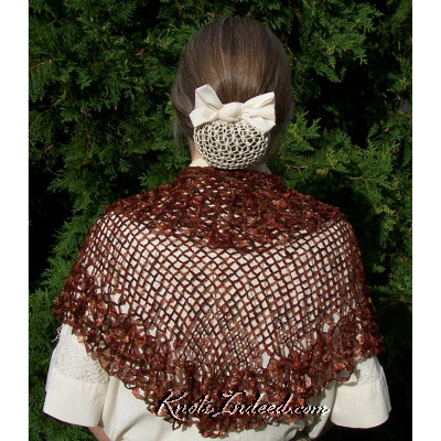 triangular net shawl made of ribbon using Mrs. Beeton's pattern