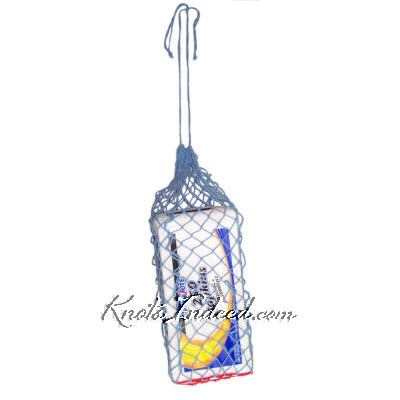 net bag with a square base and a drawstring handle