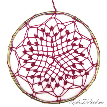 Net Suncatcher: Wild Rose - 5 inch - red